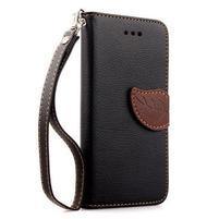 PU kožené peněženkové pouzdro pro iPhone 6s a 6 - černé