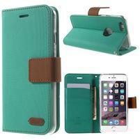 Peněženkové koženkové pouzdro na iPhone 6s a 6 - zelené