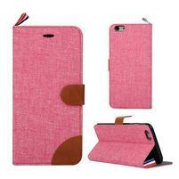 Látkové/koženkové peněženkové pouzdro na iphone 6s a 6 - růžové