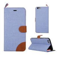 Látkové/koženkové peněženkové pouzdro na iphone 6s a 6 - světle modré