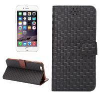 Mřížkované koženkové pouzdro na iPhone 6 a iPhone 6s - černé