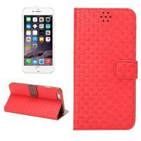Mřížkované koženkové pouzdro na iPhone 6 a iPhone 6s - červené