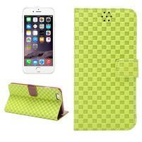 Mřížkované koženkové pouzdro na iPhone 6 a iPhone 6s - zelené