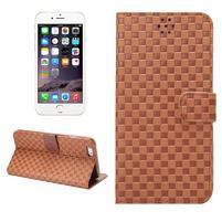 Mřížkované koženkové pouzdro na iPhone 6 a iPhone 6s - hnědé