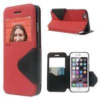 Peněženkové pouzdro s okýnkem na iPhone 6 a 6s - červené