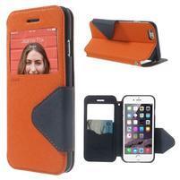 Peněženkové pouzdro s okýnkem na iPhone 6 a 6s - oranžové