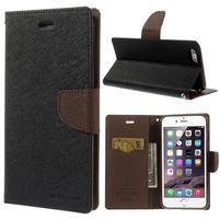 Peněženkové pouzdro pro iPhone 6 Plus a 6s Plus - černé/hnědé