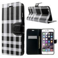 Kárované peněženkové pouzdro na iPhone 6 Plus a 6s Plus - černobílé