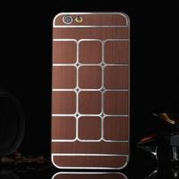 Stylový kryt s kovovými zády pro iPhone 6 Plus a 6s Plus - hnědý