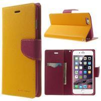 Peněženkové pouzdro pro iPhone 6 Plus a 6s Plus - žluté