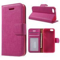 Cloth PU kožené pouzdro na iPhone SE / 5s / 5 - rose