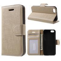 Cloth PU kožené pouzdro na iPhone SE / 5s / 5 - zlaté