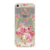 Transparentní gelový obal na mobil iPhone SE / 5s / 5 - růže