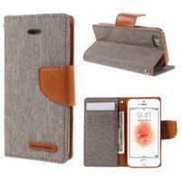 Canvas PU kožené/textilní pouzdro na mobil iPhone SE / 5s / 5 - šedé