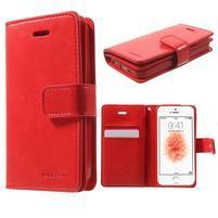 Extrarich PU kožené pouzdro na iPhone SE / 5s / 5 - červené