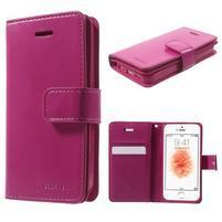Extrarich PU kožené pouzdro na iPhone SE / 5s / 5 - magneta