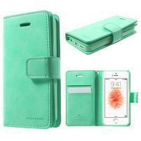 Extrarich PU kožené pouzdro na iPhone SE / 5s / 5 - azurové