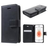 Extrarich PU kožené pouzdro na iPhone SE / 5s / 5 - tmavěmodré