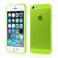 Gelový transparentní obal na iPhone SE / 5s / 5 - žlutozelený