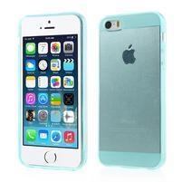 Gelový transparentní obal na iPhone SE / 5s / 5 - cyan