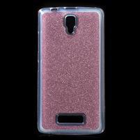 Povrchově třpytivý gelový obal na mobil Lenovo A2010 - rose