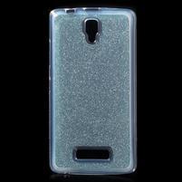 Povrchově třpytivý gelový obal na mobil Lenovo A2010 - světlemodrý