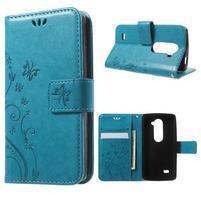 Buttefly PU kožené pouzdro na mobil LG Leon - modré