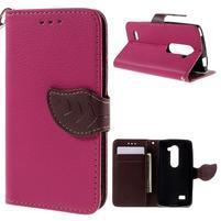 Leaf PU kožené pouzdro na mobil LG Leon - rose