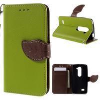 Leaf PU kožené pouzdro na mobil LG Leon - zelené