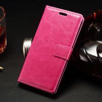 Peněženkové PU kožené pouzdro na LG Spirit - rose