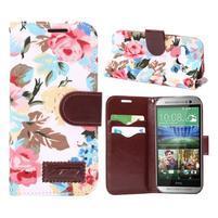 Květinové peněženkové pouzdro na HTC One Mini 2 - bílé
