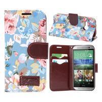 Květinové peněženkové pouzdro na HTC One Mini 2 - modré