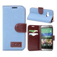 Jeans peněnžekové pouzdro pro HTC One Mini 2 - světle modré