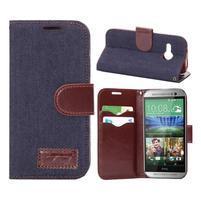 Jeans peněnžekové pouzdro pro HTC One Mini 2 - tmavě modré