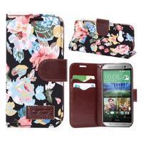 Květinové peněženkové pouzdro na HTC One Mini 2 - černé