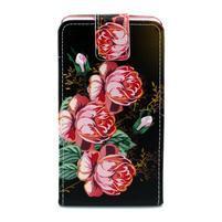 Flipové pouzdro na Huawei Ascend P7 - květy