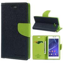 Mr. Goos peněženkové pouzdro na Sony Xperia M2 - tmavěmodré