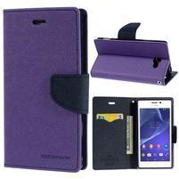 Mr. Goos peněženkové pouzdro na Sony Xperia M2 - fialové