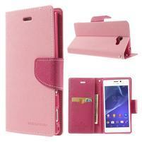 Mr. Goos peněženkové pouzdro na Sony Xperia M2 - růžové
