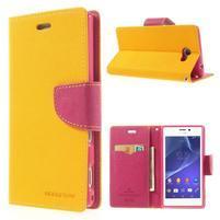 Mr. Goos peněženkové pouzdro na Sony Xperia M2 - žluté