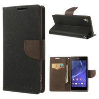 Fancy peněženkové pouzdro na Sony Xperia Z2 - černé/hnědé