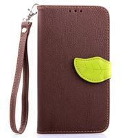Peněženkové pouzdro s poutkem na Samsung Galaxy Note 4 - hnědé