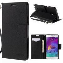 Stylové peněženkové pouzdro na Samsnug Galaxy Note 4 - černé
