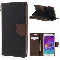 Stylové peněženkové pouzdro na Samsnug Galaxy Note 4 - černé/hnědé
