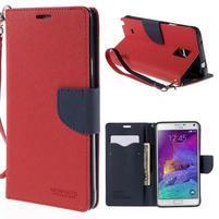 Stylové peněženkové pouzdro na Samsnug Galaxy Note 4 - červené
