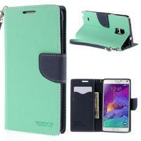 Stylové peněženkové pouzdro na Samsnug Galaxy Note 4 - azurové