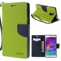 Stylové peněženkové pouzdro na Samsnug Galaxy Note 4 - zelené