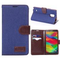 Jeans peněženkové pouzdro pro Samsung Galaxy Note 4 - modré