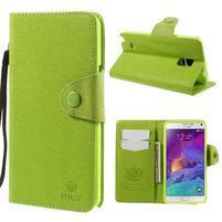 Zapínací pěneženkové poudzro Samsung Galaxy Note 4 - zelené