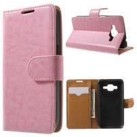Horse PU kožené pouzdro na mobil Samsung Galaxy Core Prime - růžové